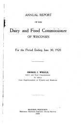 Annual Report of the Dairy and Food Commissioner of Wisconsin
