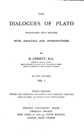 The Dialogues of Plato  Charmides  Lysis  Laches  Protagoras  Euthydemus  Cratylus  Phaedrus  Ion  Symposium PDF