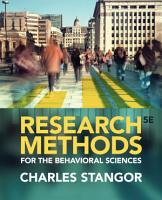 Research Methods for the Behavioral Sciences PDF