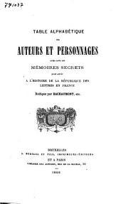 Table alphabétique des auteurs et personnages cités dans les Mémoires secrets pour servir à l'histoire de la république des lettres en France: Volume2