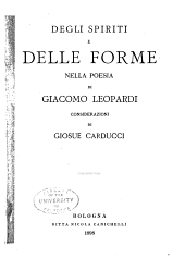 Degli spiriti e delle forme nella poesia di Giacomo Leopardi