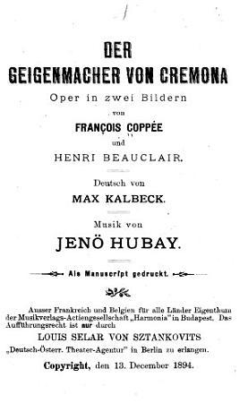 Der Geigenmacher von Cremona PDF