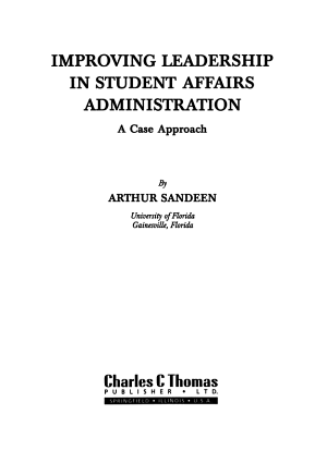 Improving Leadership in Student Affairs Administration PDF