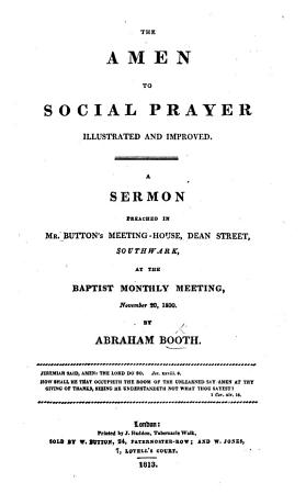 The Amen to Social Prayer illustrated and improved  A sermon  etc PDF