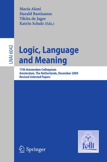 Logic  Language and Meaning PDF