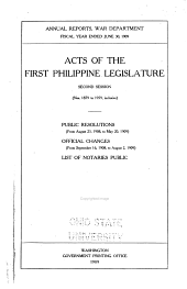 Acts of First- Philippine Legislature: Issues 1879-1959