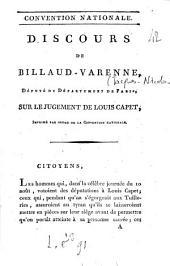 Discours de Billaud-Varenne, député du département de Paris, sur le jugement de Louis Capet