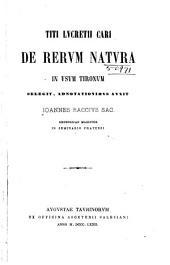Titi Lucretii Cari De rerum natura in usum Tironum