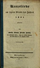 Kanzelrede am letzten Abende des Jahres 1831