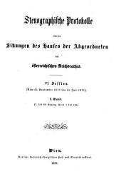 Stenographische Protokolle: Band 1;Band 6,Ausgabe 1