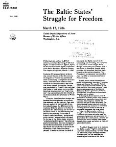 The Baltic States  Struggle for Freedom PDF
