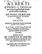 Oratio de prima praestantissimaque philosophia