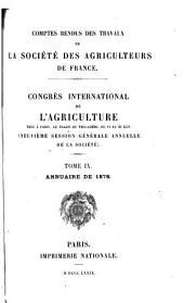 Comptes rendus des travaux de la Société des Agriculteurs de France: Volume9