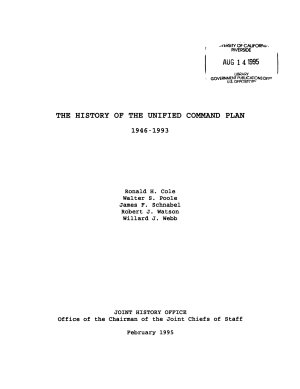 The History of the Unified Command Plan  1946 1993