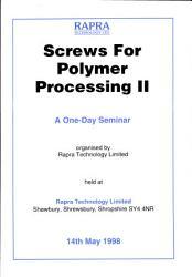 Screws For Polymer Processing Ii Book PDF