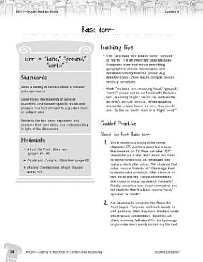 Content Area Vocabulary Level 4  Base terr  PDF