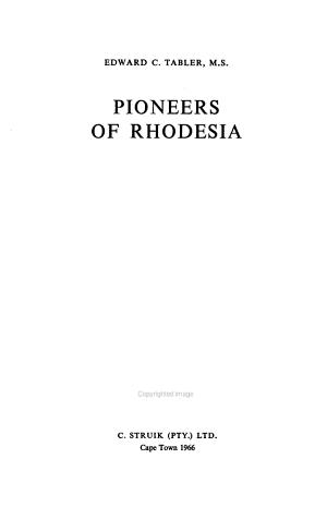 Pioneers of Rhodesia PDF