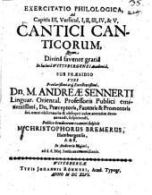 Exercitatio philol. ad c. III, v. 1 - 5 Cantici canticorum