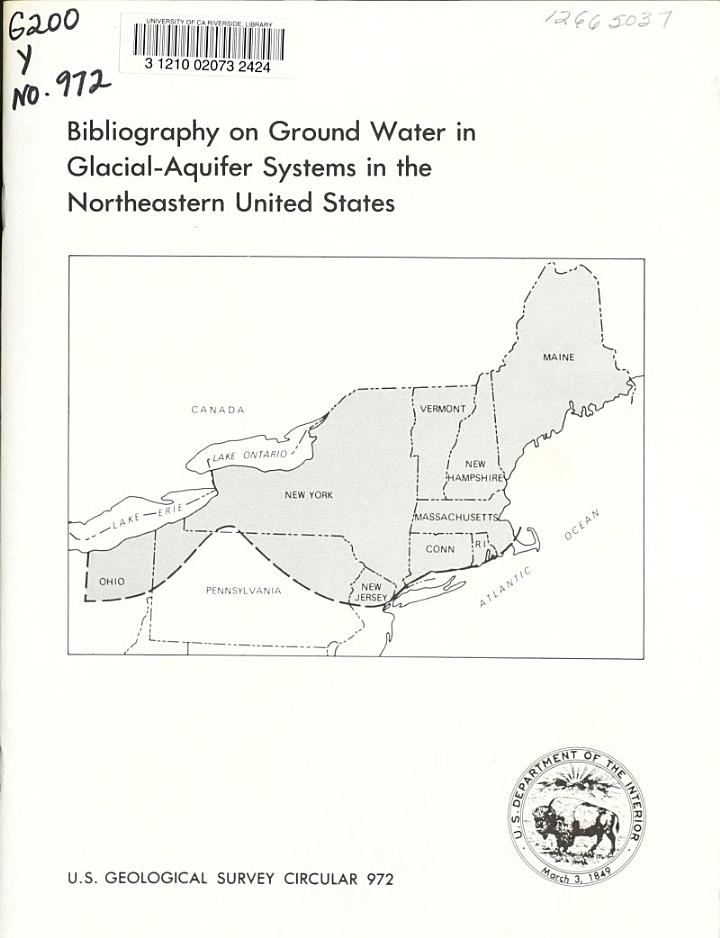 Bibliography on Ground Water in Glacial-aquifer Systems in the Northeastern United States