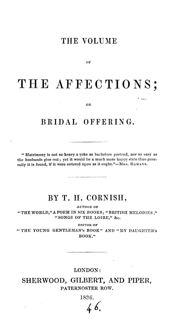 The volume of the affections; or, Bridal offering