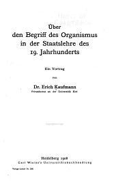 Über den Begriff des Organismus in der Staatslehre des 19. Jahrhunderts
