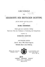 Grundrisz zur Geschichte der deutschen Dichtung aus den Quellen: Bd. Zeit des Weltkrieges