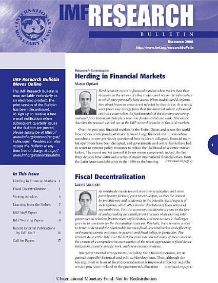 IMF Research Bulletin  December 2008 PDF
