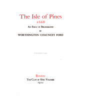 The Isle of Pines, 1668: An Essay in Bibliography