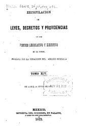 Recopilación de leyes, decretos y providencias de los poderes legislative y ejecutivo de las union: Volumen 14