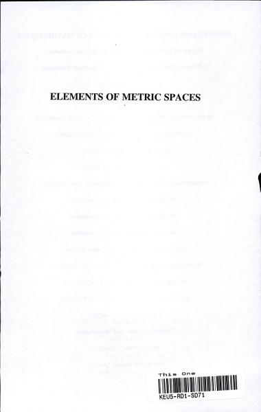 Elements of Metric Spaces