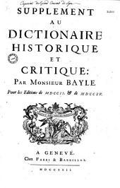 Supplément au dictionnaire historique, pour les éditions de 1702 et 1715