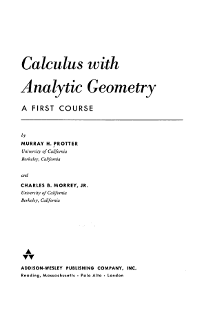Calculus with Analytic Geometry  a First Course PDF