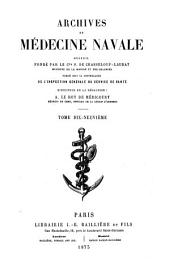 Archives de médecine navale: Volume 19