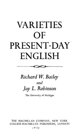 Varieties of Present day English PDF
