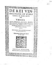 De rei vindicatione, et publiciana in rem actione, theses