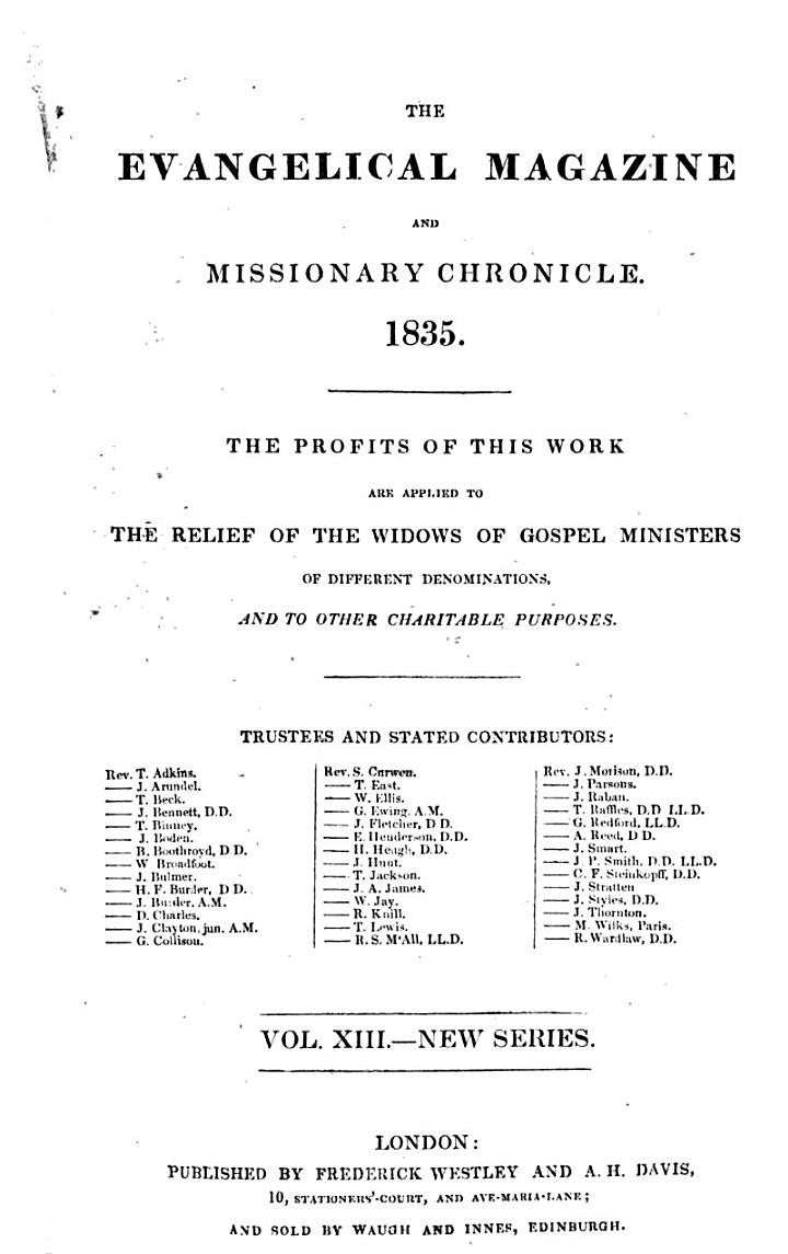 The Evangelical Magazine and Missionary Chronicle