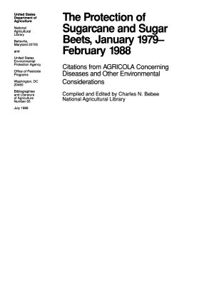 The Protection of Sugarcane and Sugar Beets  January 1979 February 1988 PDF