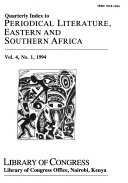 Quarterly Index to Periodical Literature  Eastern and Southern Africa PDF