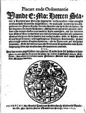 Placaet ende ordonnantie van de ... Staten 's landts van Utrecht, ..