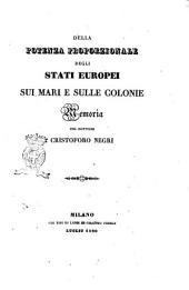 Della potenza proporzionale degli Stati europei sui mari e sulle colonie memoria di Cristoforo Negri