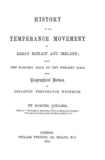 History of the Temperance Movement in Great Britain and Ireland PDF