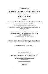 Ancient Laws and Institutes of England PDF