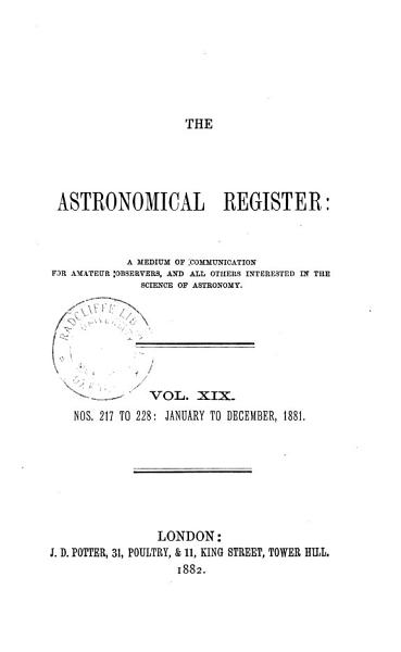 Download The Astronomical Register Book
