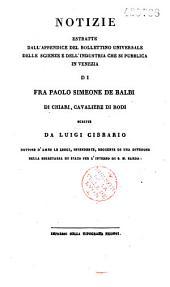 Notizie di Paolo Simeoni de'Balbi, da Chieri