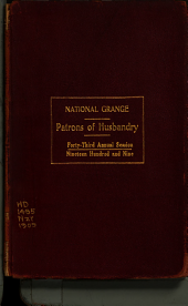 Journal of Proceedings of the National Grange of the Patrons of Husbandry