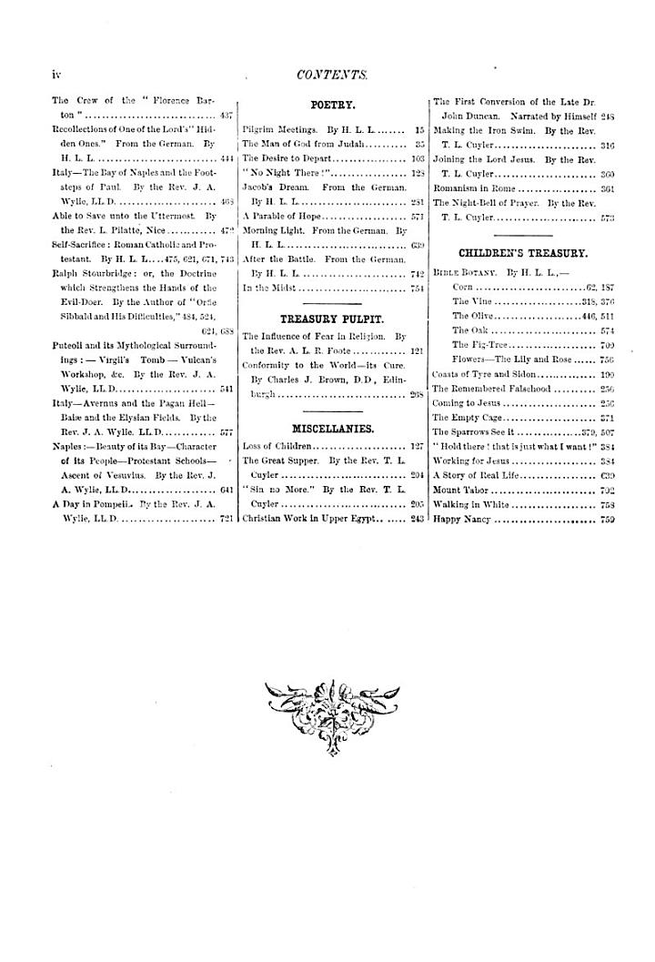 The Family treasury of Sunday reading, ed. by A. Cameron (W. Arnot). [Continued as] The Christian monthly and family treasury