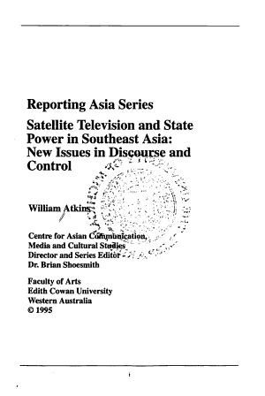 Satellite Television and State Power in Southeast Asia PDF