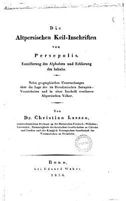 Die Altpersischen Keil Inschriften von Persepolis PDF