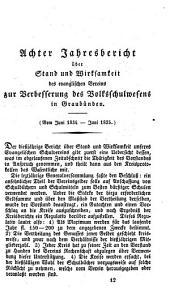 Jahresbericht über Stand und Wirksamkeit des Evangelischen Vereins zur Verbesserung des Volksschulwesens in Graubünden: Band 8