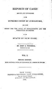 Reports of Cases Argued and Determined in the Supreme Court of the State of New York: Wendell v.1-26